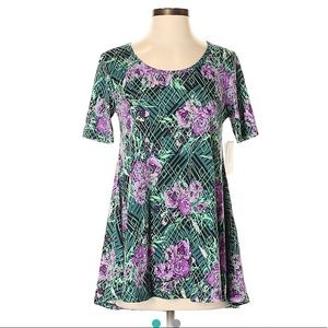 NWT Lularoe XXS purple/green floral perfect T